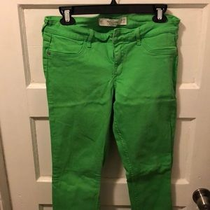 Abercrombie and Fitch light green skinny jeans